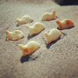I was eating the crackers, and thought it would be fun to play with my food!