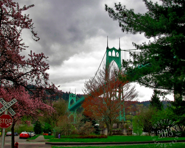 the trees are just beginning to bloom below the bridge