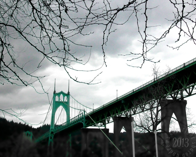 showing off the cyan color of the bridge.